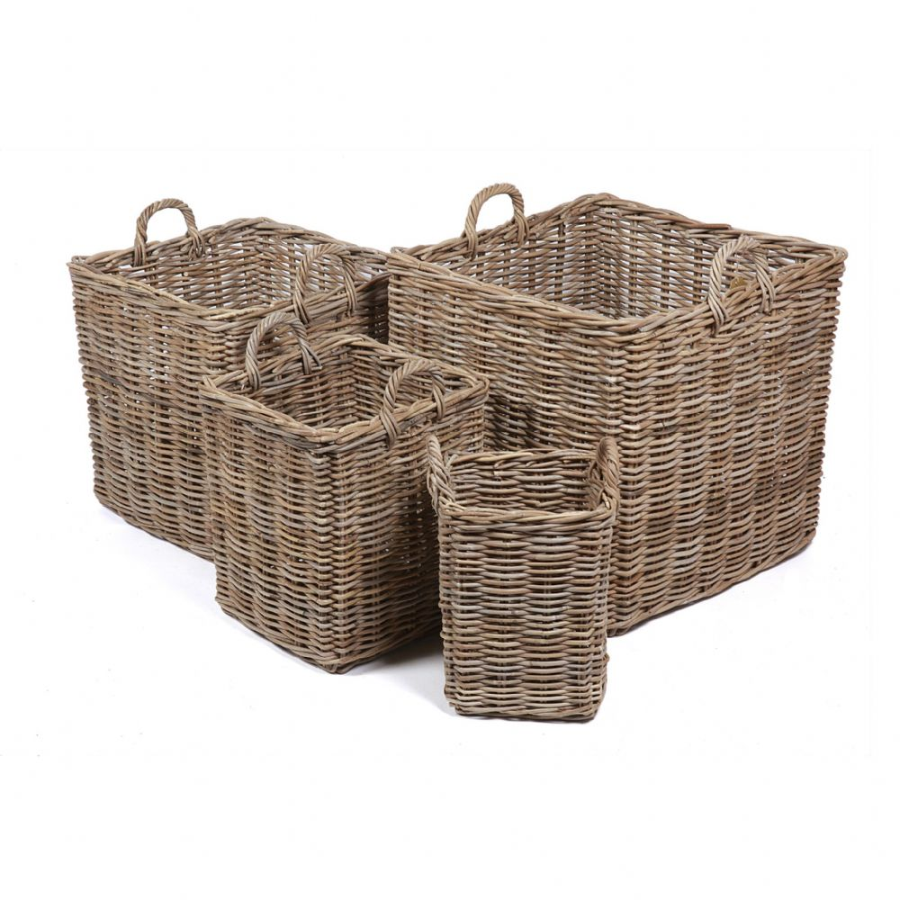 Set of 4 Square Baskets with Ear Handles Kooboo Grey